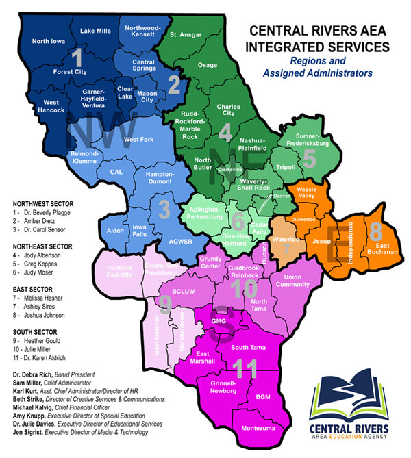 Regional Map 2019 of Central Rivers AEA territory