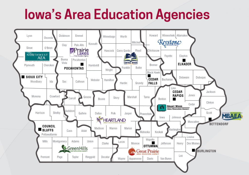 Image of Iowa showing what counties each AEA serves