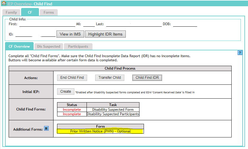 Screenshot showing Optional Prior Written Notice on Child Find Overview