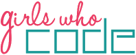 "Girls Who Code Logo: pink script font ""girls who"" over turquoise block font of ""code"""