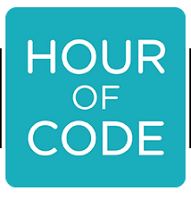 "Hour of Code Logo: Turqouise square with white text ""Hour of Code"""