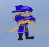 Gladbrook-Reinbeck Schools Logo: light blue square with soldier wearing blue uniform and hat, black boots, and sword on belt