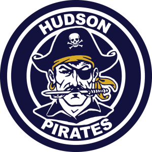 Hudson Schools Logo: Navy blue circle with Hudosn Pirates around the circumference and pirate with hat on head and knife in mouth.